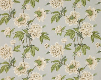 COLEFAX & FOWLER SHABBY Giselle Peonies Linen Fabric 10 Yards Aqua Cream Green
