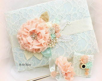 Mint Peach Ivory Wedding Guest Book Gold Pen Set Lace Guestbook Signature Book Wedding Pen Vintage Style Guest Sign In Book