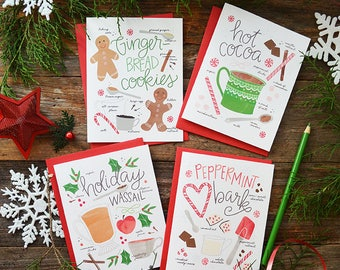 Holiday treats, Gingerbread cookies, hot cocoa, peppermint bark, holiday wassail, recipe illustration Merry Christmas, set of four cards
