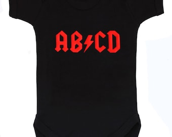 AB/CD Rock n Roll Black Baby Grow / Rockstar Baby Bodysuit / Rock & Roll ACDC Baby Gift Vest by Baby Moo's