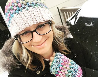 Puff Stitch Beanie and Gloves Crochet PATTERN - Puff Stitch Messy Bun - Convertible Messy Bun Hat - Crochet PATTERN - Written Hat Pattern