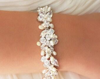 Statement Bridal Bracelet, Wedding Jewelry, Rhinestone, Freshwater Pearl and Swarovski Crystal Bracelet