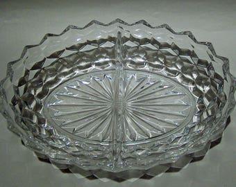 8408: Vintage Fostoria American Oval Divided Vegetable Serving Clear Bowl Elegant Glassware at Vintageway Furniture