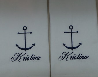 Anchor hand towels 2 embroidered Boat towels Nautical kitchen towels with a name. You can choose thread color.