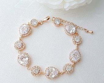 Rose Gold Bridal Bracelet, Wedding Bracelet, Cubic Zirconia Bracelet, Teardrop Halo Crystal Bracelet, Wedding Jewelry, Cristle