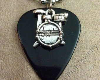 Drums/Drum Kit on Black Guitar Pick Necklace
