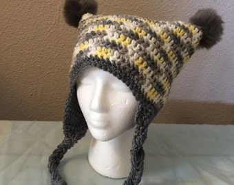 Crochet square hat; pom pom party hat; hat with ear flaps