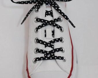 Cotton Shoelaces - Black with White Polka Dots