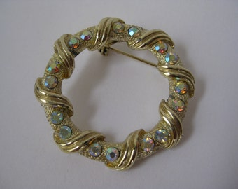 Aurora Gold Brooch Rhinestone Circle Pin Vintage