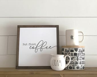 But First, Coffee Papered Wood Sign - Papered Wood Sign - Gallery Wall Art - Home Decor - Coffee Art