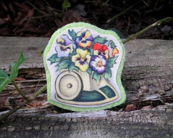 Vintage Flower Pot Handmade Floral Brooch - Retro Pansies & Miniature Cart Paper Ephemera + Felt Art Pin- Pansy Bouquet Plant Jewelry Gift
