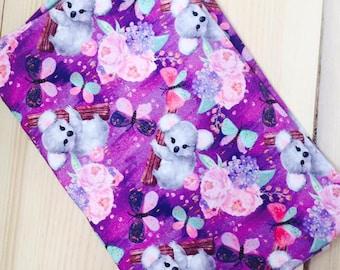 Knit Koala in purple new 1 yard cotton lycra knit