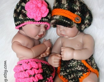 Twin Baby Boy and Girl Camo Diaper and Hat Sets - Camo Orange Pink Ruffle - Newborn Photo Prop - Made to ORDER- ANY Color
