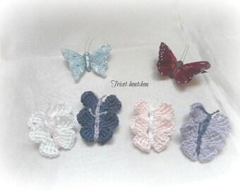 Lot 8 butterflies made with crochet cotton