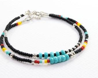 Turquoise Bracelet, Boho Chic Beaded Bracelet, Tribal bracelet, Black and Turquoise Bracelet, Womens Beaded Bracelet, Seed Bead Bracelet