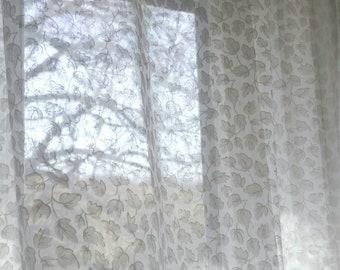 "Massive White Sheer Window curtain. Vintage white sheer curtain panel. Large White curtain. 90x60""."