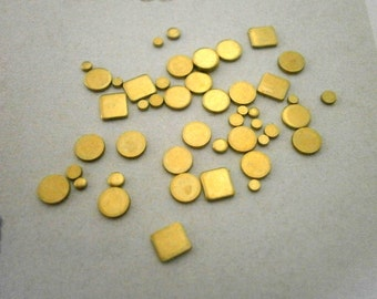 10g Tiny Raw Brass Stamping Blanks Circles Squares Metal Stamping Blanks Scrapbooking Embellishment