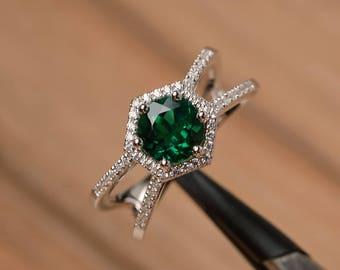 lab emerald ring engagement ring solid sterling silver ring round cut green gemstone May birthstone ring