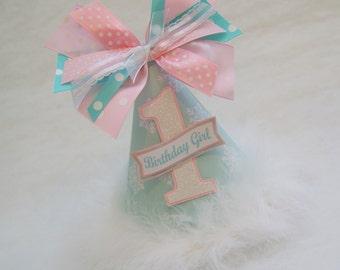 BACK IN STOCK!!  Aqua and Pink Winter Onederland Birthday Party Hat - Winter Wonderland, Snowflake, Frozen, Anna, Elsa
