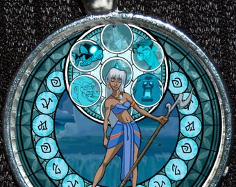Princess Kida Atlantis Stained Glass Style Silver Disney Pendant Necklace Jewelry