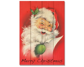 Red Santa Christmas Decoration on Solid Wood, Holiday Art, Festive Wall Hanging, Home Decor, Gift Ideas for Christmas (WRS)