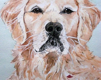 Pet Portrait - Custom Pet Watercolor Painting, Painting Made from Photo, Personalized Gift for Men, Custom Dog Portrait, Pet Memorial