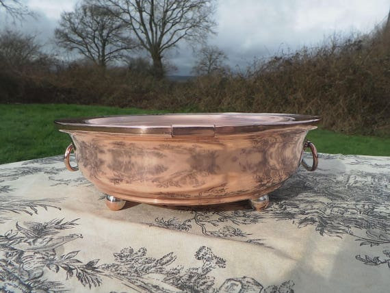 French Antique Solid Copper Food Warmer with Cast Copper Feet Cast Copper Handles Plate Warmer Centre Piece Normandy Kitchen Copper