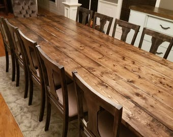 Gentil Long Farmhouse Table, Large Farm Table, Rustic Table, Custom Farm Table,  Dining Room Table, Barn Table, Massive Farm Table, Wood Table