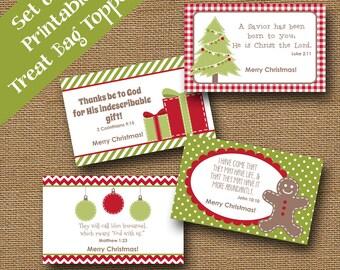 Kids Printable Christmas Treat Bag Toppers | Christmas Scriptures for Children | Christmas Bible Verses | DIY PRINTABLE | Classroom Cards