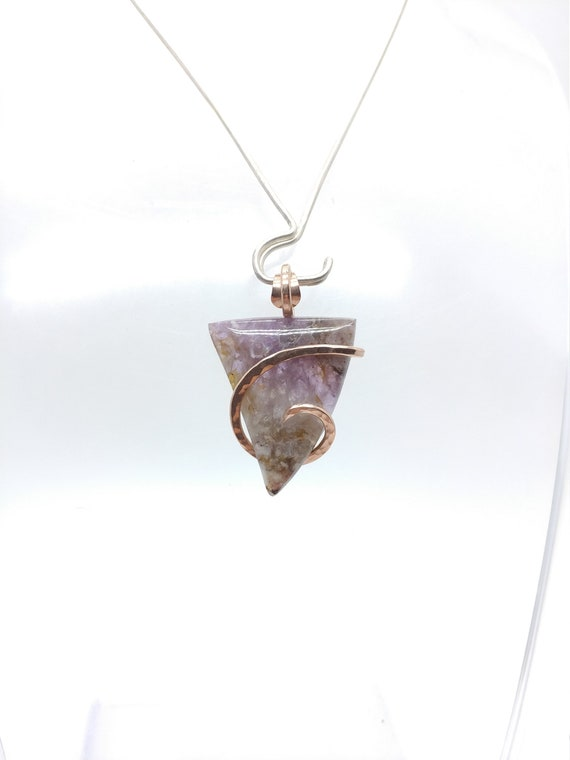 Amethyst Lace Agate Pendant   Amethyst Crystal Pendant   14kt Rose Gold Filled Pendant   Amethyst Pendant Necklace   February Birthstone