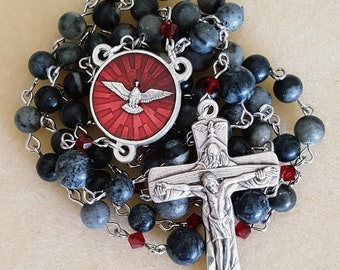 Network Agate and Red Swarovski Crystal Gifts of the Holy Spirit Rosary