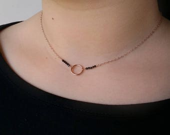 Circle necklace rose gold - Karma choker with gemstones - Black Spinel necklace - Wife rose gold jewelry - Girlfriend gold necklace