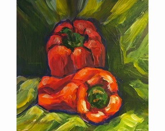 "Original Acrylic Miniature Painting, ""Red Peppers"""