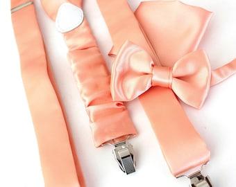 Suspender with bow tie + hanky salmon-pastel