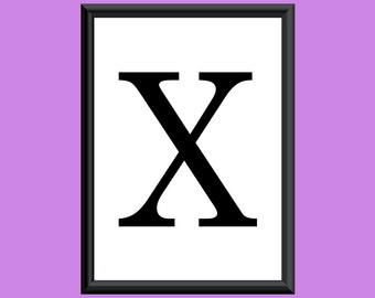 Typography Digital Print Monogram Initial Wall Art Century Letter X