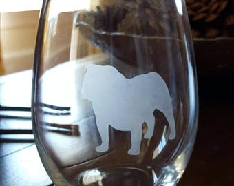 Bulldog Stemless Wine Glass