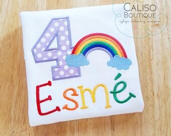 Girls Rainbow Shirt - Rainbow Birthday Shirt - Rainbow Birthday Party Shirt for Girls - Personalized Birthday Number Shirt - Birthday Shirt