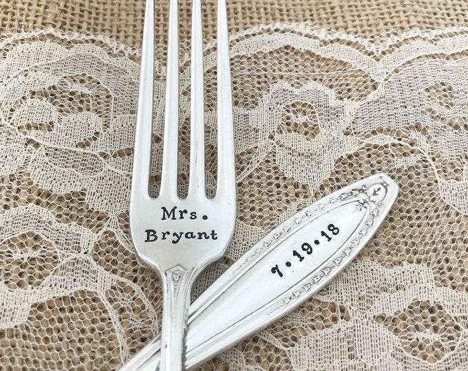 Mr & Mrs forks with date. Handstamped, webster