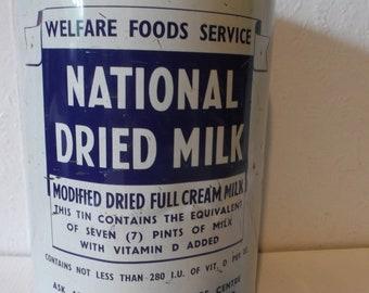 Rare Antique English National Dried Milk Tin Metal Welfare Foods Service Box Circa 1940s