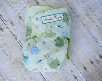 Froggy Frog  -  Standard Wear Hybrid Fitted Cloth Diaper with Hidden Bamboo Fleece