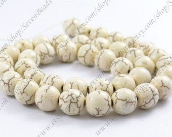 8mm Superb white turquoise round stone beads loose strand