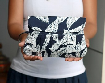 Bridesmaid gift make up bag, bridesmaid clutch, navy palm leaf gathered wristlet purse, clutch with strap, clutch handbag, gift for her