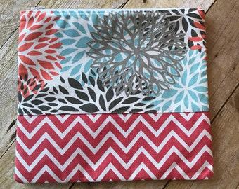 Extra Large Zipper Pouch - Cotton Canvas Floral Chevron Coral Fabric - Zippered Clutch - XL Pencil Pouch - Diaper Pouch