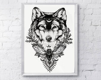 Earthen Wolf Ink Drawing