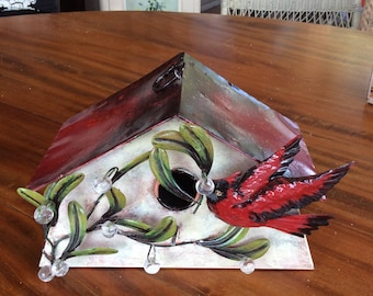 Tin Birdhouse With Cardinal and Faux Crystal Accents | Home Decor