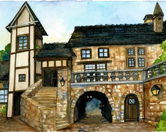 A4 print of a Medieval Town