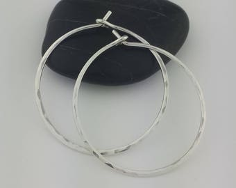 Hammered Sterling Silver Hoop Earrings, 18 Gauge, Thick Hoop Earrings, Hammered Earrings, Round Hoops