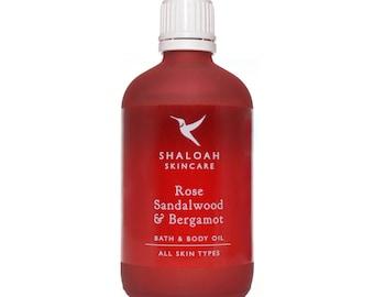 Rose, Sandalwood & Bergamot Bath, Body and Massage Oil with Orange, Jojoba, Vitamin E, Apricot Oil