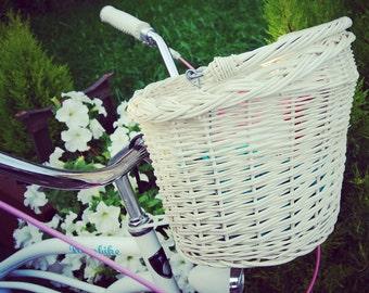 Bike basket, wicker bike basket, shopping basket, bike bag, white bike basket, bicycle basket