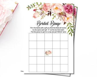 Boho Bridal Shower Bingo Cards, Bohemian Pink Floral Bridal Bingo Cards Printable, Blank Bingo Cards, Instant Download, B54
